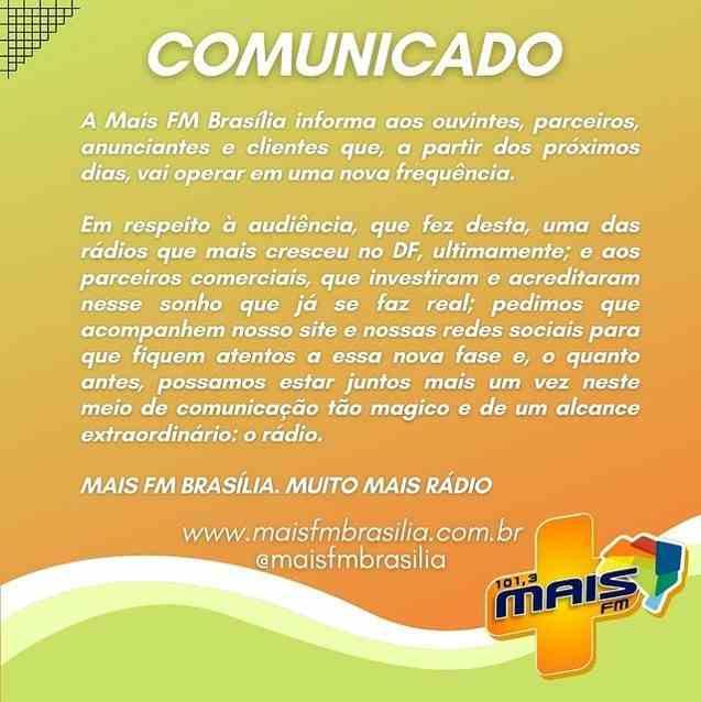 A Rádio Mais FM de Brasília comunica alteração de frequência de operação a ser concretizada nos próximos dias