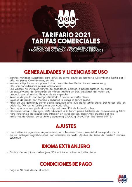 Tarifario 2021 Asociación Colombiana de Locución - Tarifas Comerciales