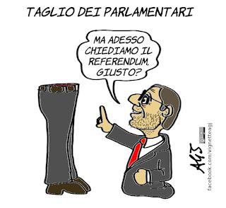 giachetti, taglio dei parlamentari, deputati, senatori, camera, senato, costituzione, referendum confermativo, politica, vignetta, satira
