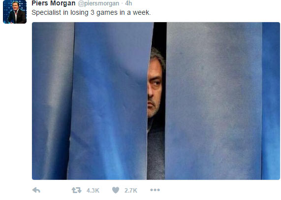 Specialist in losing 3 matches in a week - Piers Morgan trolls Mourinho