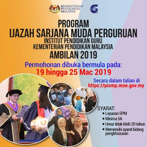 Permohonan Bagi Mengikuti Program Ijazah Sarjana Muda Perguruan Pismp Sesi Pengambilan 2019 Mypendidikanmalaysia Com