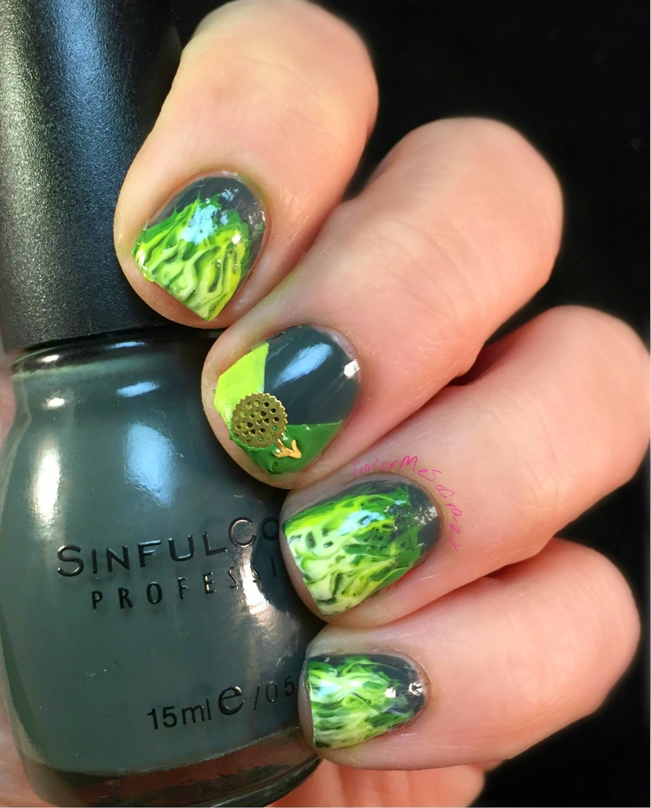 52 Week Challenge presents Fire with 3 Shades of Green, nyc, new york color, sinful colors, sally hansen
