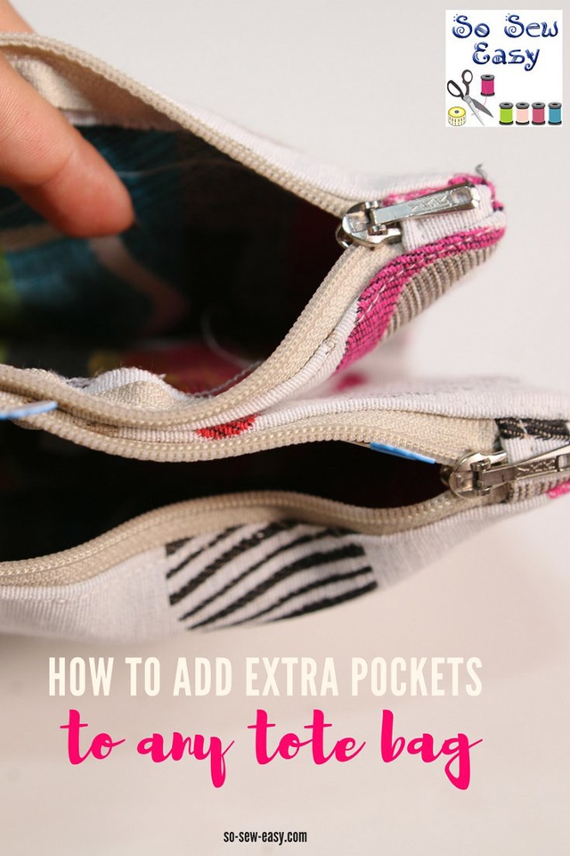 Learn how to add extra pockets to any bag. Tutorial by So Sew Easy