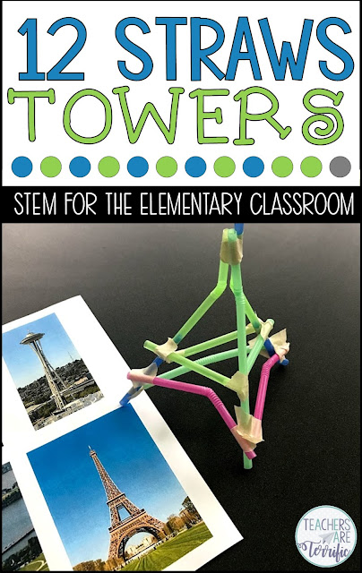 STEM Challenge- Use 12 straws to build a tower that resembles a famous structure. Check this post for more tower ideas.