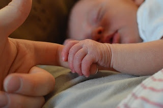 Baby with adult hand