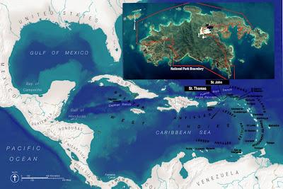 Carte de Saint John îles des Caraïbes :  endroits à découvrir .