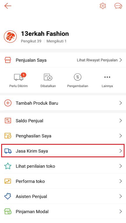 Opsi Menu Pengaturan Jasa Kirim Toko di Aplikasi Marketplace Shopee.