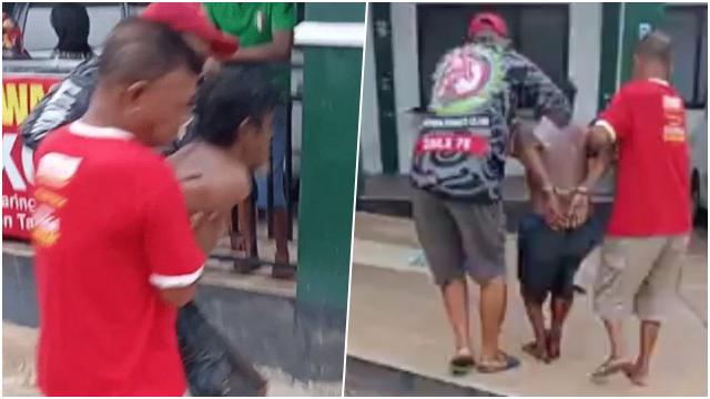 Orang Gila Ngamuk Bawa Parang, Polisi Kena Bacok