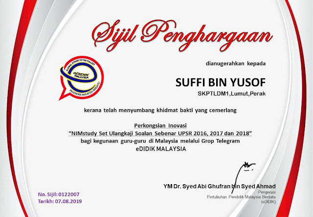 eDidikMalaysia menghargai NIMstudy sebagai sebuah inovasi
