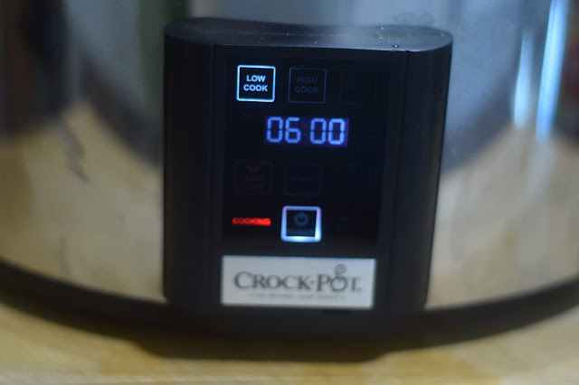 The slow cooker set to low for six hours.