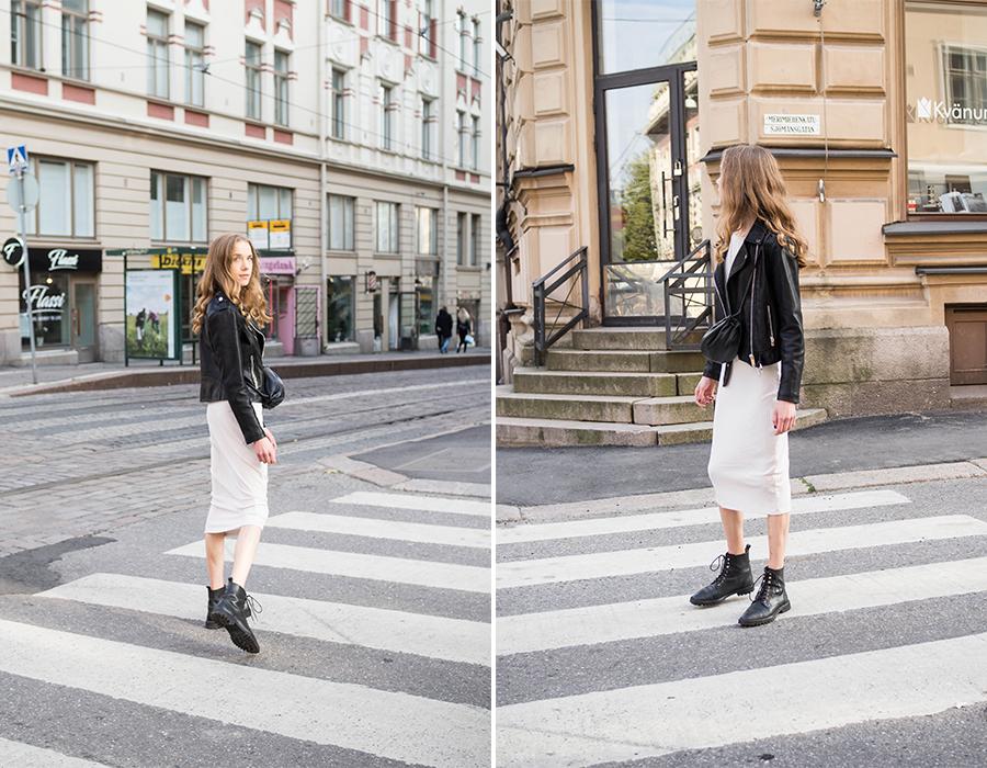 Syyspukeutuminen: neulemekko, nahktakki, nilkkurit // Autumn dressing: knitted dress, leather jacket, ankle boots