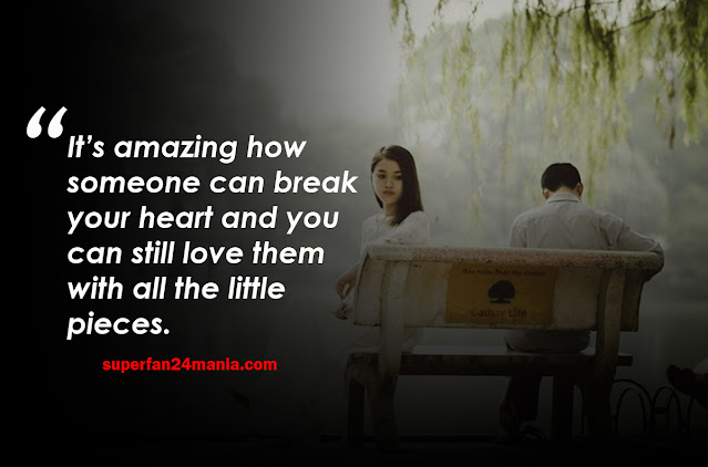 It's amazing how someone can break your heart and you can still love them with all the little pieces.