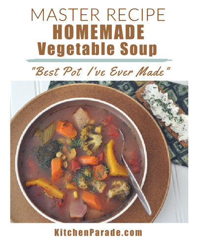 How to Make Homemade Vegetable Soup, a master recipe ♥ KitchenParade.com. Never the same twice! Perfect for CSA members, farmers market shoppers and all vegetable lovers!