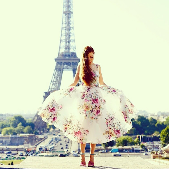 Teri Jon Floral Print Crystal Embellished Dress, Rickie freeman for Teri jon dress, paris, eiffel tower, fashion blog