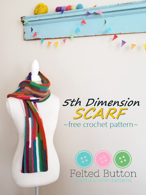 5th Dimension Scarf -- free crochet pattern from Felted Button
