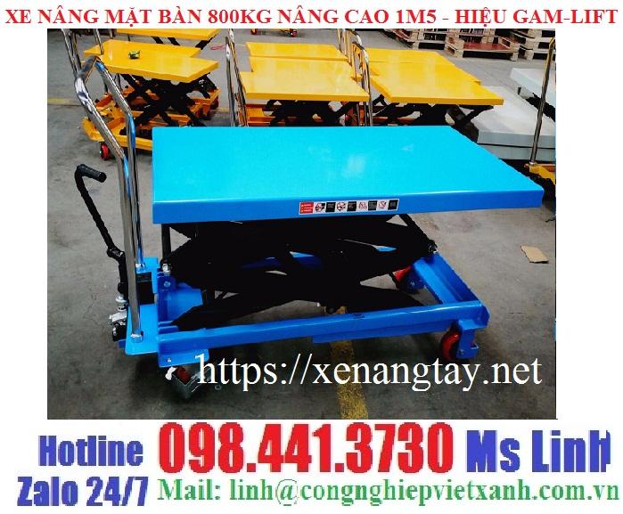 Xe nâng bàn 800kg cao 1m5 Gamlift TAD80