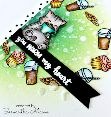 Coffee Warms my Heart Card by Samantha Mann for Evelin T Designs, YouTube Video, Tutorial, Distress Inks, Ink Blending, Stencil, Embossing Paste, #evelintdesigns #video #distressink #inkblending #coffee #books