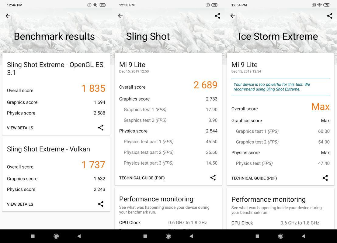 Benchmark 3DMark Xiaomi Mi 9 Lite
