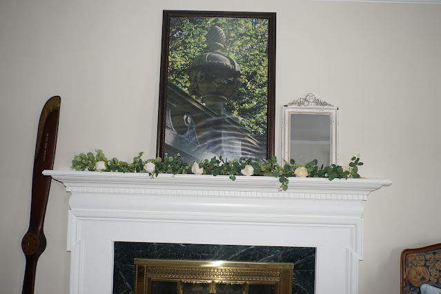 Mantel decorated with airplane propeller