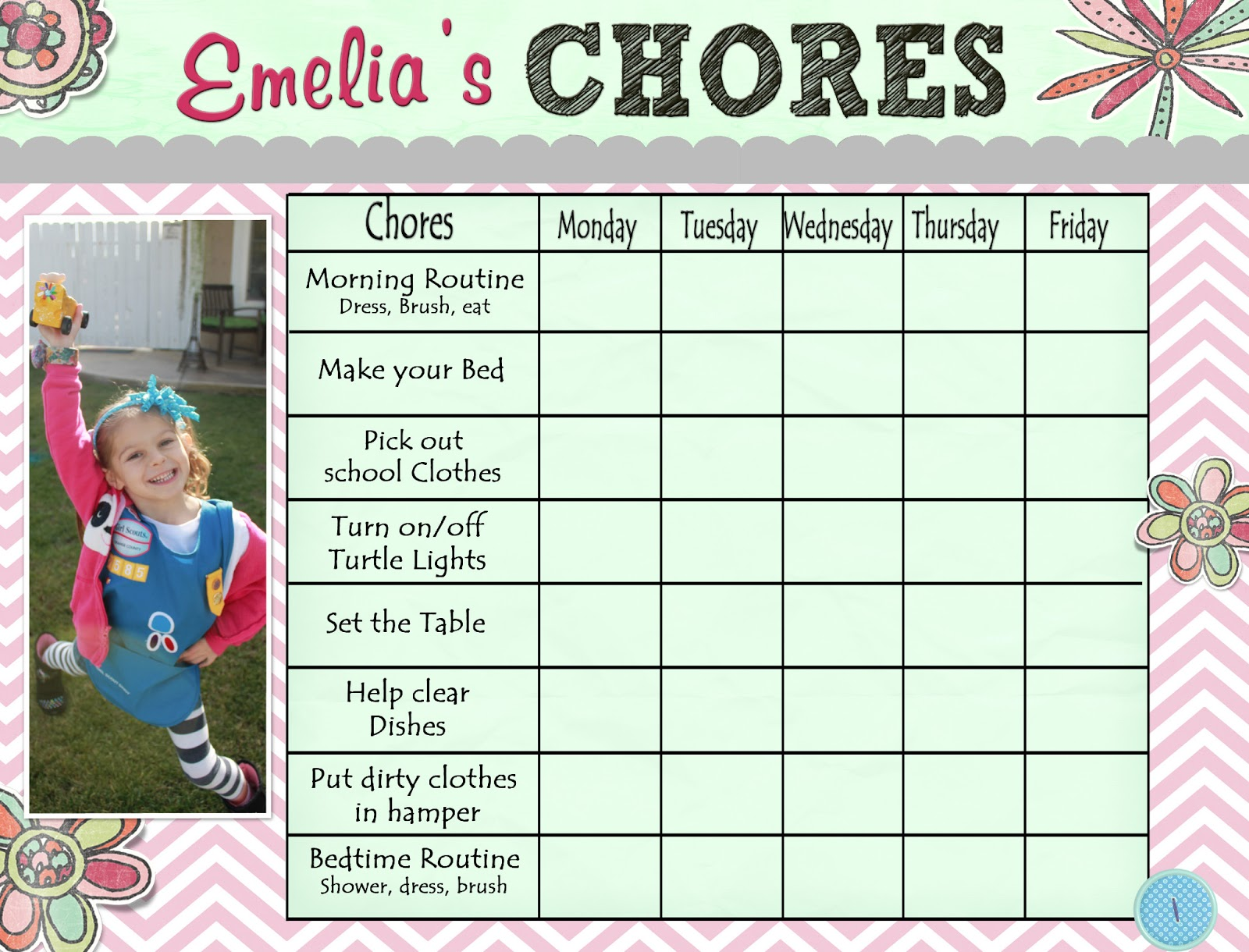 Blank Chore Charts – Free Printable Kids. You could also laminate ...