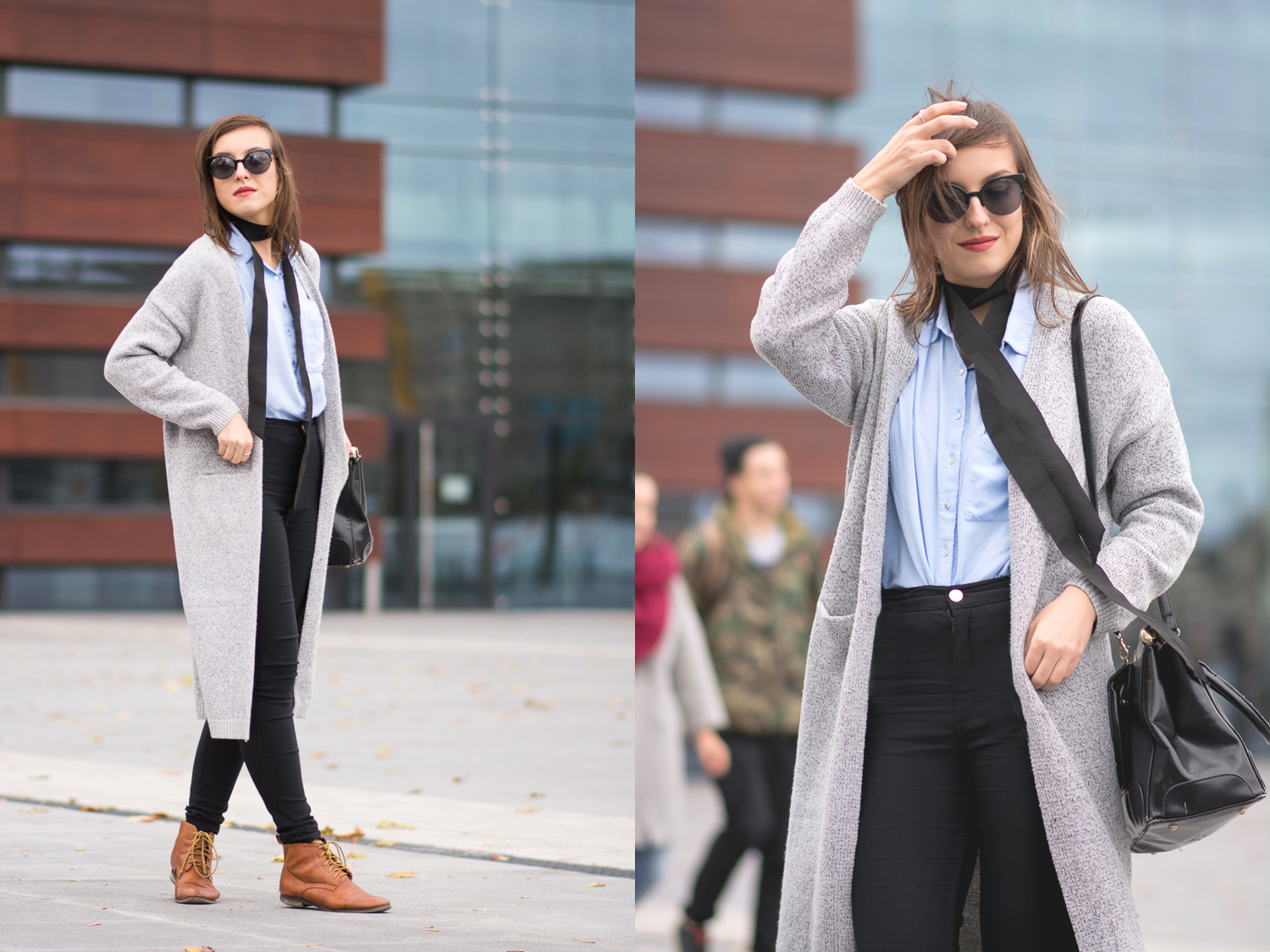 Casual ,street style look, Skinny scarf, black high waist jeans, long cardigan, baby blue shirt