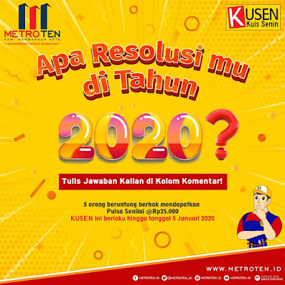 Kuis Apa Resolusimu Di Tahun 2020 Berhadiah Pulsa 125 Ribu