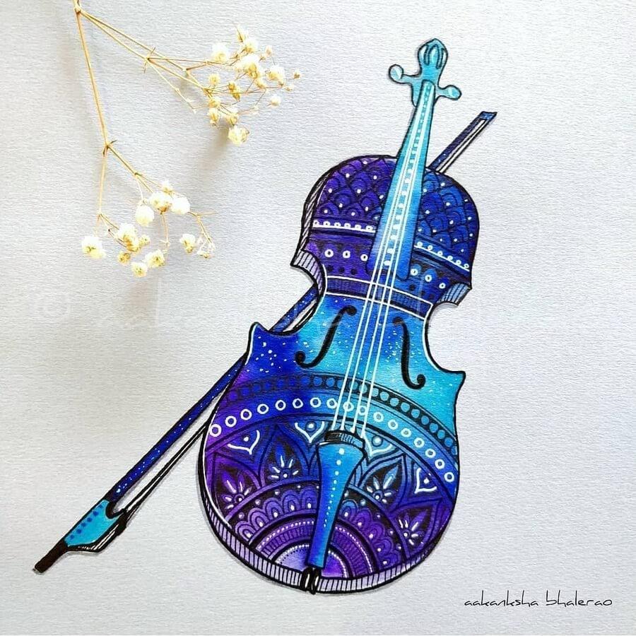 10-Stars-violin-and-bow-Aakanksha-Bhalerao-www-designstack-co