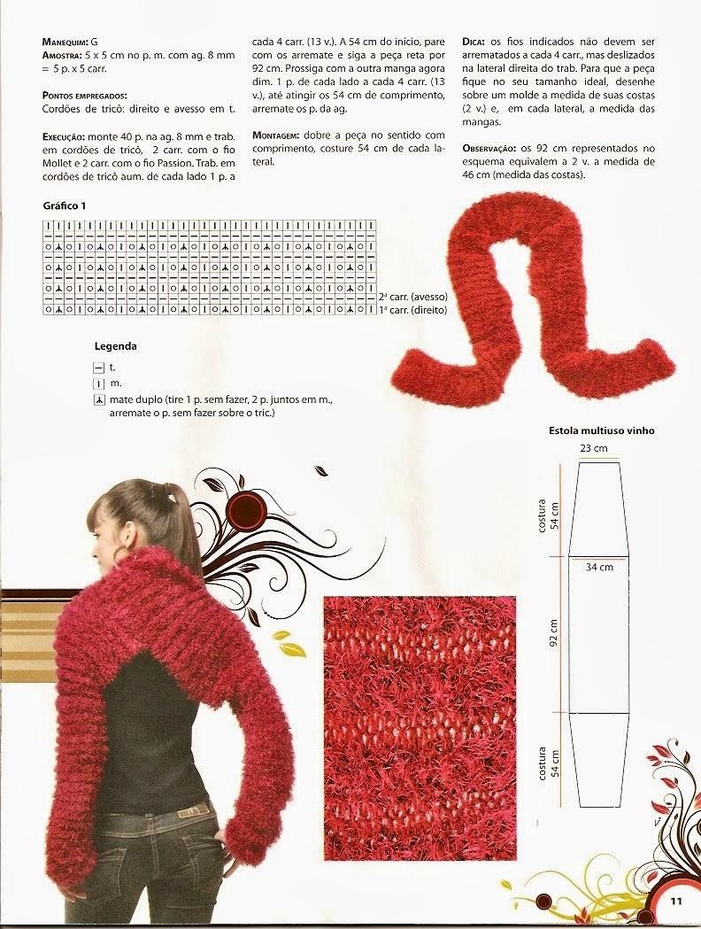 Estola con mangas Bufanda Patrón tricot