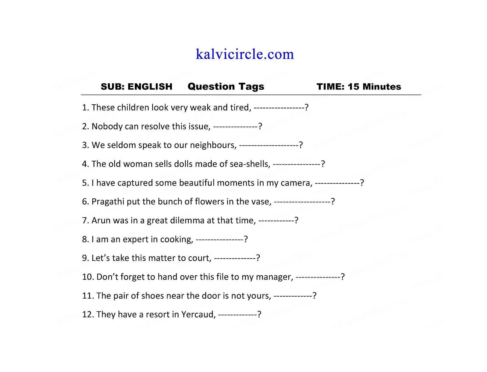12th Std English Grammar Worksheet Study Material