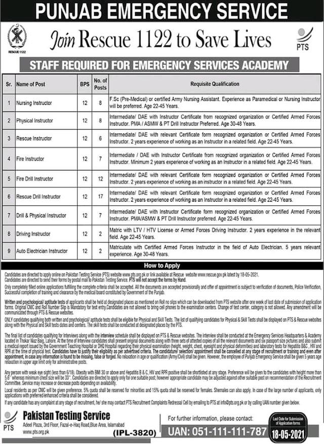 Latest 1122 jobs in Punjab emerjency | Latest jobs in Punjab  Pakistan 2021