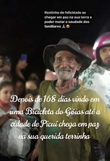 Após 168 dias viajando numa bicicleta, seu Francisco chegou a Picuí, sua terra natal