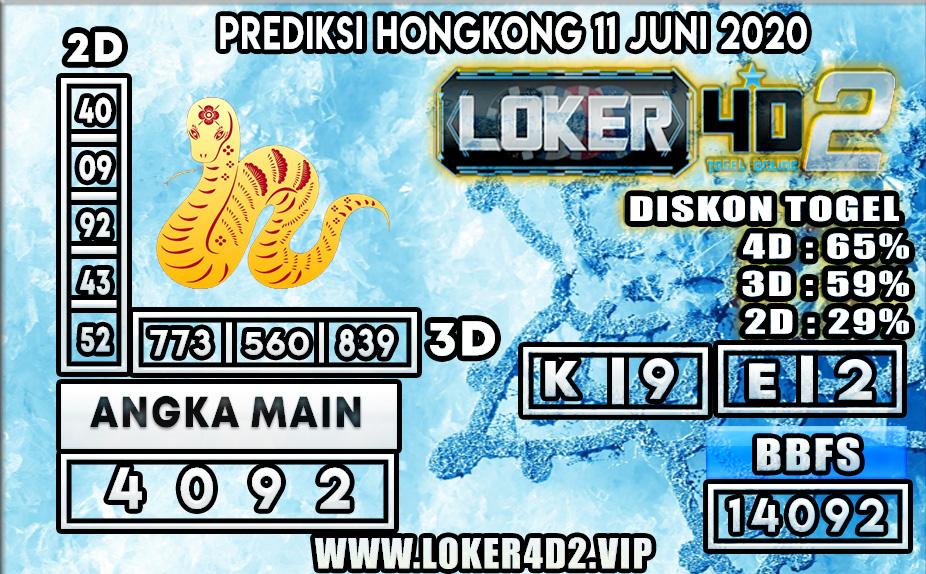 PREDIKSI TOGEL HONGKONG  LOKER4D2 11 JUNI 2020