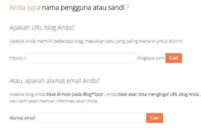 Email dan Password Blog yang Terlupa