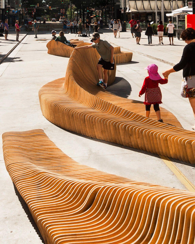 Ławki parkowe miejskie 3d ze sklejki - piękna architektura miejska