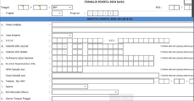 Contoh Formulir PPDB Tahun 2020