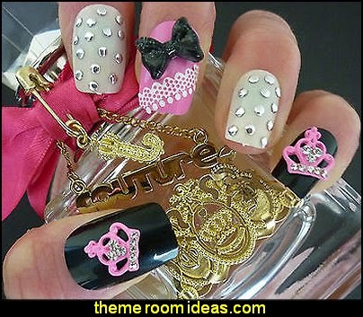 3D Nail Art Glitter Bows & Metal Pink Juicy Crown Kawaii Nail Art Decoration