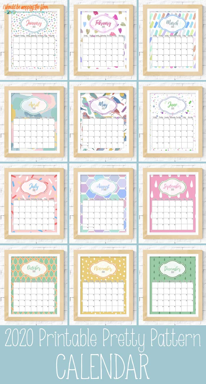 Pretty Pattern Printable Calendar 2020