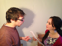 John Perivolaris goes through the script to Mona and the Stations of the Cross with actress Miranda Langley