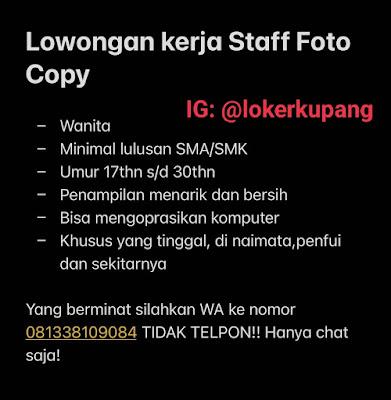 Lowongan Kerja Staff Fotocopy