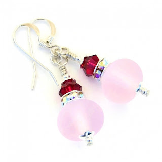 frosted pink Valentines Day or Mothers Day earrings