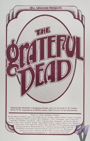 An ad for the six Grateful Dead appearances at the Orpheum Theatre in San Francisco from July 12-18, 1976