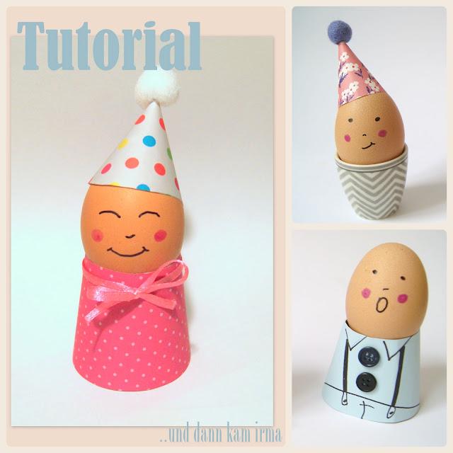 egg people Bastelanleitung Eierbecher aus Papier Osterdeko Tutorial Hüte Kleidung