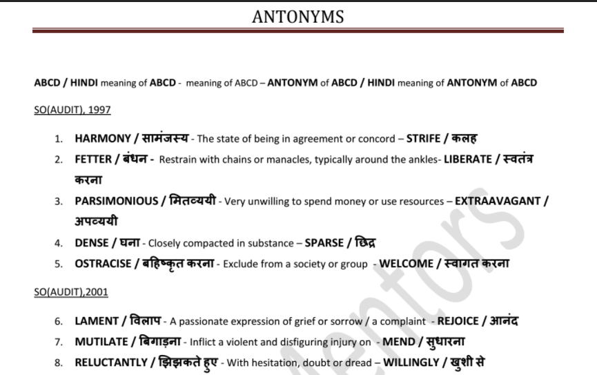 Antonyms asked in SSC Exams till 2016 (with Hindi Meanings) PDF