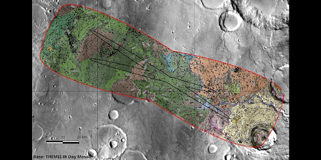 One example of how the Oxia Planum landing site candidate for the ExoMars 2020 mission is being analysed. The map outlines a boundary that encapsulates the range of possible landing ellipses, with some added margin. The colours represent the variety of surface terrains identified, including plains, channels, impact craters and wind-blown features, for example. It is not a geological map intended for scientific analysis, but rather a tool used to identify different surface textures and where potential hazards may lie. Credit: IRSPS/TAS; NASA/JPL-Caltech/Arizona State University
