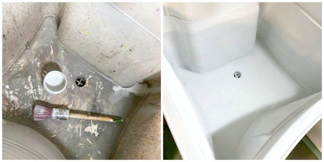 Before and after of a painted slop sink