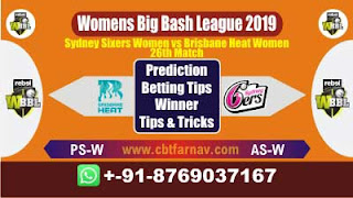 WBBL 2019 BHW vs SSW 26th Match Prediction Today Womens Big Bash League 2019
