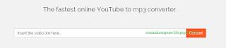 """gambar halaman """"the you mp3"""" untuk memasukkan link url video youtube"""