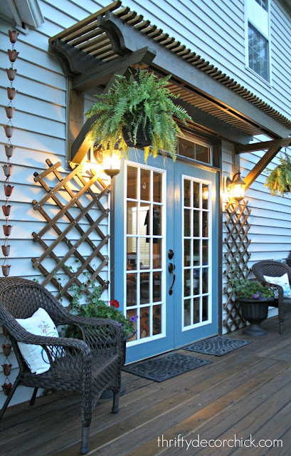 Double patio doors with wood trellis
