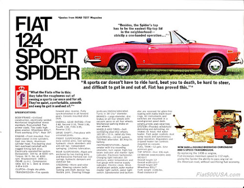 1971 Fiat 124 Sport Spider Brochure