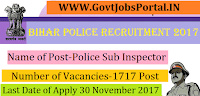 Bihar Police Recruitment 2017 – 1717 posts of Police Sub Inspector